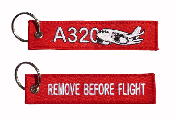 Llavero A320 Outline Remove Before Flight Key tag