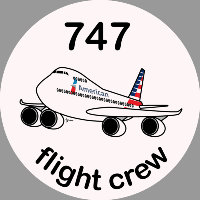 B-747 American Airlines Sticker