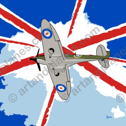 Ilustración United Kingdom - Spitfire (Serie Banderas/Flag series Print) - Illustration