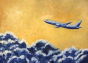 Boeing 737 over a sea of clouds Oil Painting