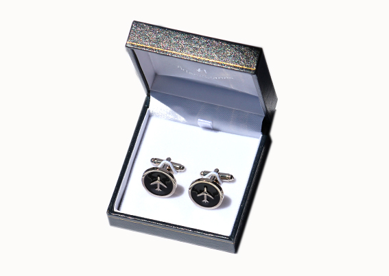 Gemelos avión baño plata / silver plated cufflinks with airplane